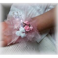 Dievčenský kvetinový náramok ND003 - RUŽOV
