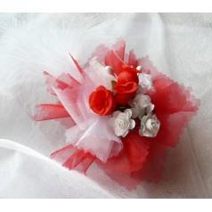 Kvetinový náramok N006 - ČERVEN