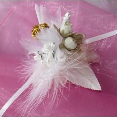 Kvetinový náramok N012 - SMOTANOVO-ZLAT