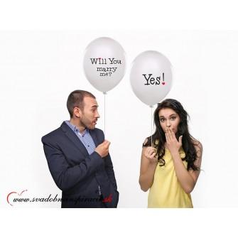 """Balóny """"WILL YOU MARRY ME"""" - Biele (6 ks)"""