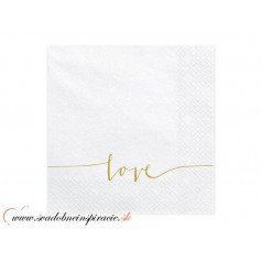 Servítky 3-vrstvové s potlačou - LOVE (20 ks)