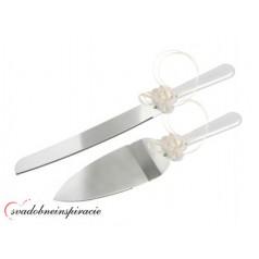 Lopatka a nôž na svadobnú tortu - Biela