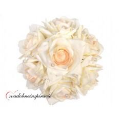 Prilepovacia kytička ruží - BIELA