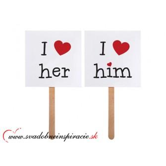 "Kartičky na fotenie ""I LOVE HIM, I LOVE HER"" (2 ks)"