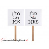"Kartičky na fotenie ""I´M HER MR., I´M HIS MRS."" (2 ks)"