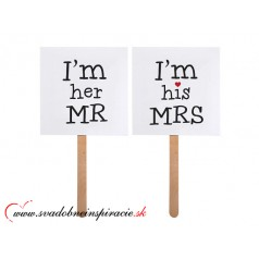 "Kartičky s nápisom ""I LOVE HIM, I LOVE HER"" (2 ks)"