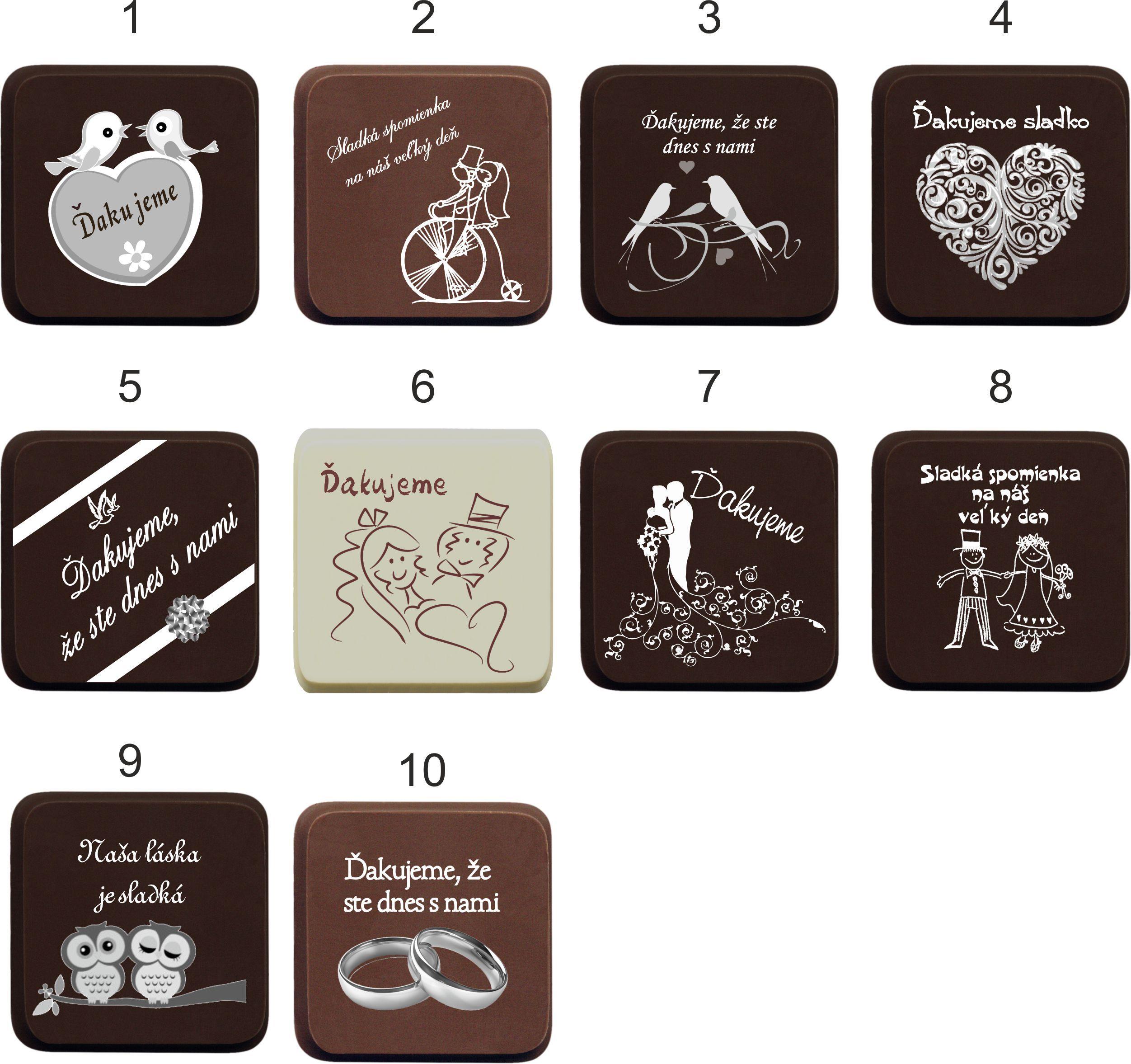 Svadobná čokoládka - vzory