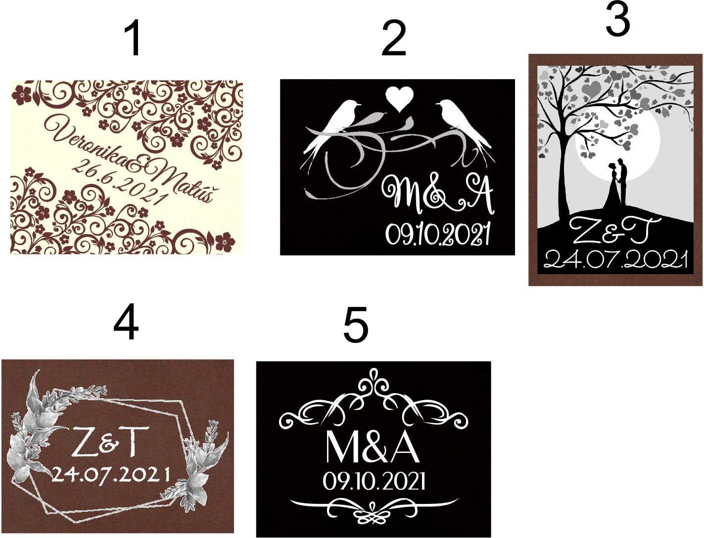 Mini svadobné čokoládky S PERSONALIZÁCIOU (150 ks) - čokoládové TABLIČKY