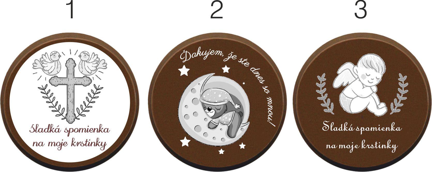 Vzory čokoládiek na krst - Dukátik