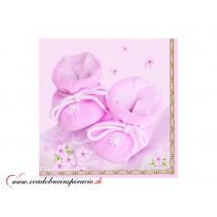 Servítky PAPUČKY - Ružové (20 ks)