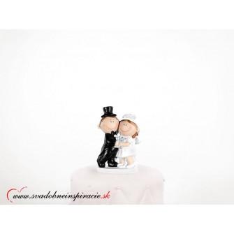 """Postavička na svadobnú tortu """"MLADOMANŽELIA S PRÍPITKOM"""""""