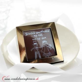 """Svadobné čokoládky """"V škatuľke"""" (5x5 cm)"""
