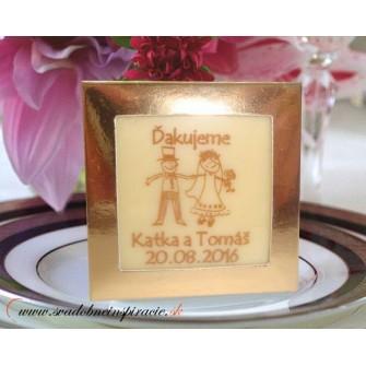 Svadobné čokoládky v škatuľke - PERSONALIZOVANÉ (5x5 cm)