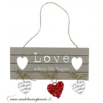 """Dekoračná tabuľka """"VINTAGE HEART"""""""