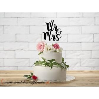 "Zápich na tortu ""MR&MRS"" (čierny)"