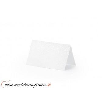 Menovky na stôl - BIELE perleťové (10 ks)