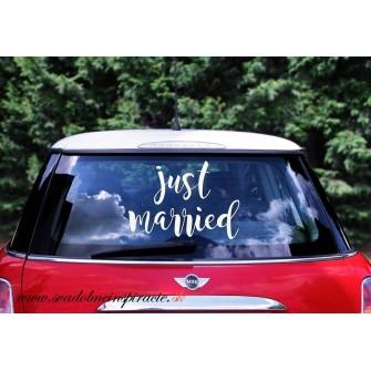 "Svadobné nálepky ""JUST MARRIED"""