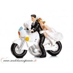 "Postavička na svadobnú tortu ""MLADOMANŽELIA NA MOTORKE"""