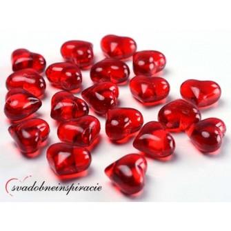 Dekoračné kamienky - SRDIEČKA (červené), 30 ks