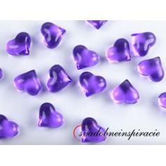 Dekoračné kamienky - SRDIEČKA (fialové), 30 ks
