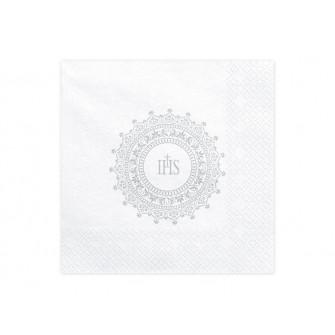 Servítky 3-vrstvové s potlačou - IHS strieborné (20 ks)