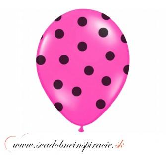 """Balóny """"POLKA DOTS"""" - Fuchsia (6 ks)"""