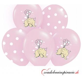 Balóny SLONÍKY - ružové (6 ks)