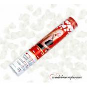 Vystreľovacie confetti - Biele srdiečka (40 cm)